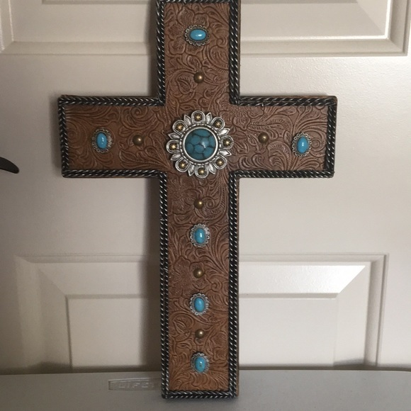 NWT Wooden Cross Tooled Leather and Faux Turquoise